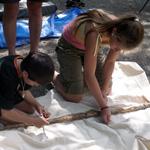 Kids making teepee